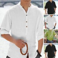 Mens Long Sleeve Grandad Neck Shirt 100%Cotton Beach Party Tee Holiday Cool Tops