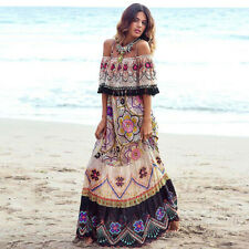 Women Lady Boho Bohemian Floral Tribal Beach Off Shoulder Long Maxi Party Dress