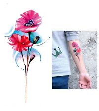 High Quality 19cm x 9cm Fake Temporary Tattoo Large Poppy Flower /-b148-/