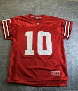 Ohio State Troy Smith #10 Buckeyes Football Jersey Large Colosseum OSU Flaws
