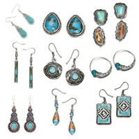 Fashion Women Silver Turquoise Gemstone Wedding Proposal Hoop Stud Earrings Gift