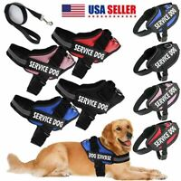 Dog Harness walk No Pull Vest tactical Heavy Duty Service Patch & Pets Leash Set