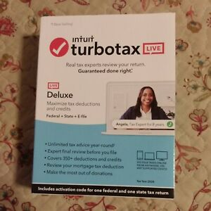 GENUINE 2020 Intuit TurboTax LIVE Deluxe Federal + State + E-File Download