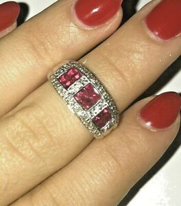 14k Solid White Gold Diamond Ruby Ring New With Tags 1100