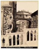 Venezia Ponte dei Sospiri Foto originale all'albumina Paolo Salviati 1880c L869