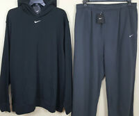 NIKE FLEECE SWEATSUIT HOODIE + PANTS OUTFIT BLACK GREY RARE NEW (SIZE 4XLT)