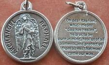 To Your Health! Gray-tone Saint St. Raphael the Archangel Medal Charm + 3/4""