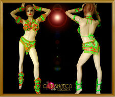 CHARISMATICO Green Brazilian carnival bra and Belt with hot pink bead-work