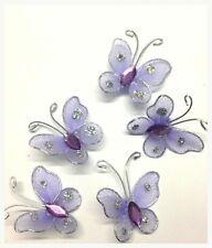 20 LILLA CABLATO GLITTERATE Mesh Farfalla motivi 4 CARD Artigianato cucire Ricamo