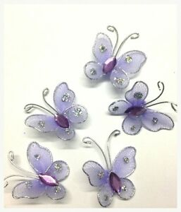 20 Lilac Wired Glittery Mesh Butterfly Motifs 4 Card Crafts Sewing Embroidery