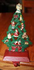 "Vintage Cast Iron Stocking Holder Christmas Tree 8"" w/Box Angel Snowman Santa"
