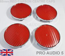 4x RED CARBON CENTRE CAPS WHEEL 68mm UNIVERSAL BMW E46 E36 E90 E34 E39 E60 E91UK