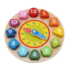 Children Wooden Shape Sorter Sorting Clock Blocks Numbers Learn The Time Toy SA