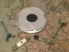 White  Peace Enamelled Poppy Grille Car Badge with Grille Fixings British Legion