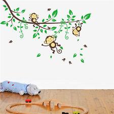 Jungle Monkey Tree Wall Sticker Vinyl Removable Nursery Kid Art Decor Room Decal