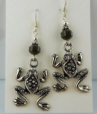 Pewter Leaping Frog Earrings with Hematite gemstones