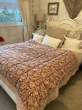Jeff Banks Luxury Velvet Red Vintage Paisley Quilted Bedspread