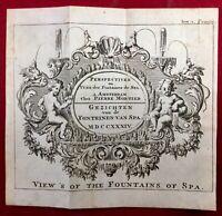 Spa en 1784 Fontaines de Spa Belgique Rare Gravure Ancienne