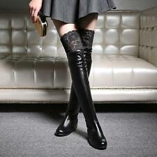 Women Round Toe Hidden Heels Lace Over The Knee Casual Winter Sexy Evening Boots