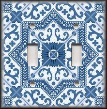 Light Switch Plate Cover - Moroccan Tile Design - Dark Blue Moroccan Home Decor