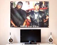 Classic Hip Hop Rap music poster 2pac & Biggie small throw back 24x36 fabric art