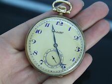 Vintage Antique IWC Schaffhausen 14K Yellow Gold Art Deco Pocket Watch 48mm 66g