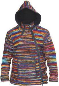 Mens Hippie Winter Coat Tyedye Jacket Fleece Lined Hoodie Wool Festival Sweater