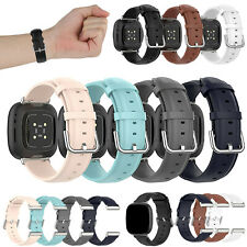 For Fitbit Versa 3/ Sense Leather Watch Band Sport Wrist Straps Metal Clasp