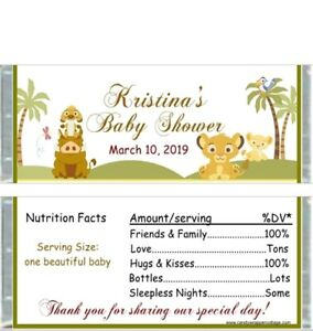 20 Lion King Simba Narla Personalized Baby Shower Candy Bar Wrappers Favors