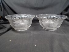 Victorian pair of Zipper Ribbed pattern glass Gas style lampshades lamp shades