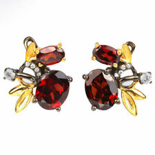 Natural GARNET & White CZ 2 TONE 925 SILVER EARRINGS