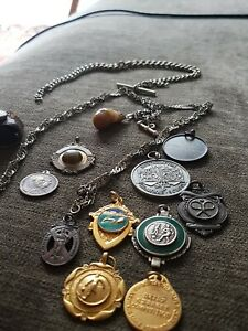 """JOBLOT"" Various Antique/Vintage Pocket-Watch Chains & Fobs ""c1880s +"""