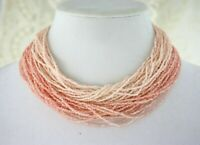 Vintage Peach Pink Seed Bead Choker Necklace with Ornate Rhinestone Clasp