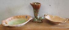 2x Vintage English Bowls 'Sylvac' & 'Crown Devon' & Drip-Glaze Vase, Aus., 1960s
