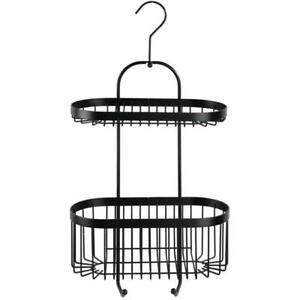 Wenko Modern Hanging Shower Caddy, 2 Shelves, Black Coated Steel Rust Protection