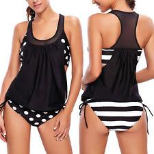 Tankini donna costume da bagno moda mare pois righe bikini pinup nuovo DL-2171