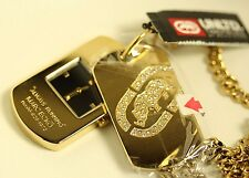 Marc Ecko The Ecko Dog Tag Crystal MacDaddy Gold Tone Necklace Chain Watch