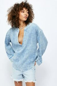 Free People We The Free Anguilla Washed Pullover Top Blue Casual Boho L NW 16330