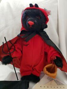 Steiff Halloween Boo Black Mohair Bear, LITTLE Devil Limited Ed. Certificate bag
