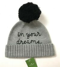 815c023bfdb Kate Spade in Your Dreams Heather Grey Beanie W  Pom Black Gray