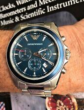 Men's 'Emporio Armani' Chronograph Watch Silver &  Blue Dial AR-6091