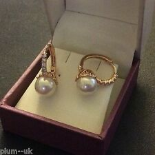 FH Sim diamond & shell pearl gold gf French hoop earrings 19 x 9mm BOXD Plum UK