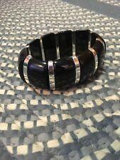 Bracelet Black & Silver Lg Beads (stretch) SHINNY! CLASSY! New without tags!