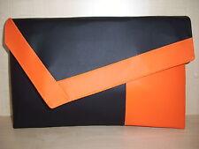 OVER SIZED ORANGE & BLACK faux leather aysemmetrical clutch bag. Handmade in UK