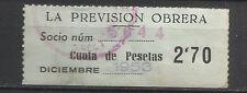 8382-SELLO ESPAÑA CUOTA LA PREVISION OBRERA EN CATALAN Y CASTELLANO año 1953
