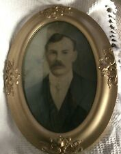 Mid Century Portrait in oval frame Convex glass