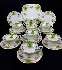 Vintage Foley Tea Set For 6 People / 21 Piece / Trio / Green And White China