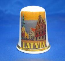 Birchcroft China Thimble -- Travel Poster Series - Latvia - Free Dome Box