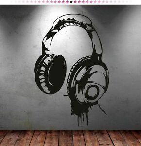 Headphones Wall Sticker Art Living Room Bedroom Removable Huge Decal Removable