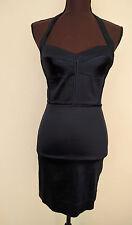 Z Spoke Zac Posen Halter Sheen Houndstooth Dress Dark Navy/Black Size 2 $355